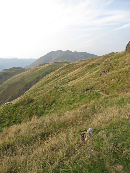 Looking back along my path to Angle Tarn with Place Fell in the distance