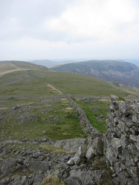 Looking back to Caw Fell and Iron Crag from Little Gowder Crag
