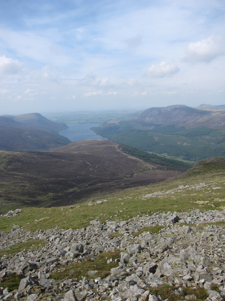 A heather covered Lingmell and Ennerdale Water