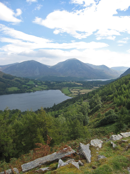 Loweswater and a glimpse of Crummock Water with Whiteside and Grasmoor behind