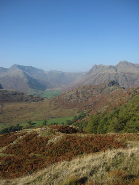 Mickleden with Bowfell on the left and the Langdale Pikes on the right