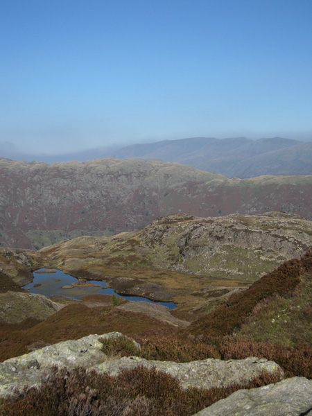 Lingmoor Tarn with the Helvellyn ridge in the distance