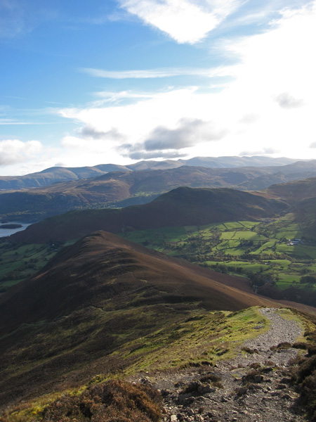 Rowling End below, Catbells, the central ridge and the Helvellyn range from Causey Pike