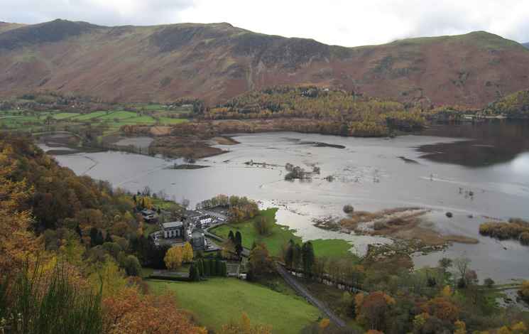Flooded head of Derwent Water from Surprise View