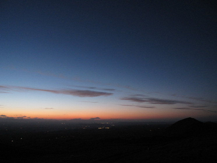 Descending in the dark with Dufton Pike on the right