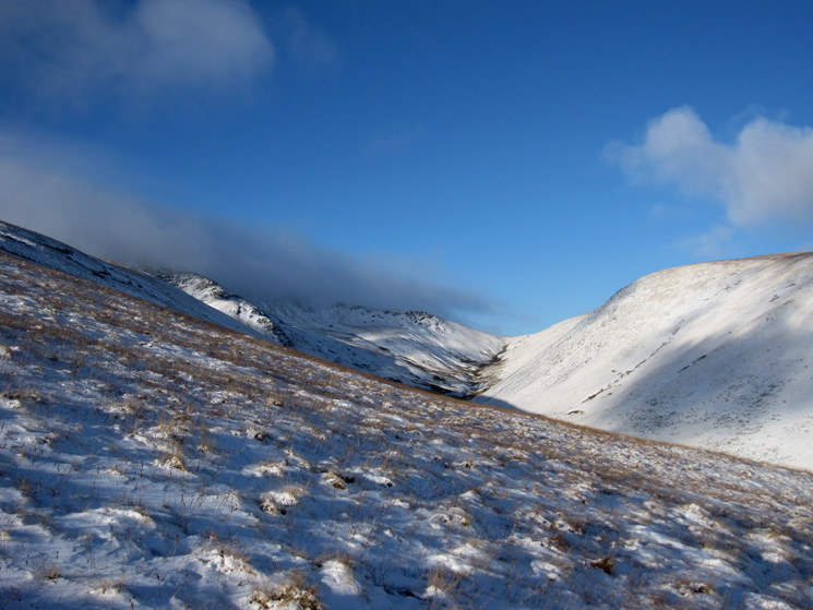 Looking up the valley of the River Glenderamachin with the bottom of Sharp Edge on the left