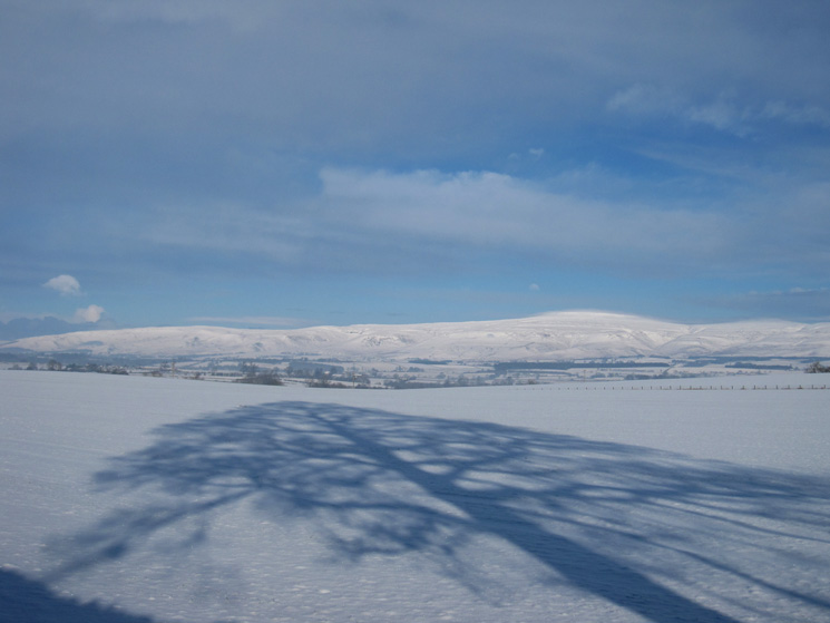 Looking across the snowy fields to the North Pennines