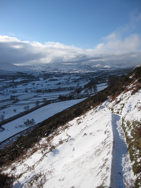 The view southwest into the Lakes from above Scales
