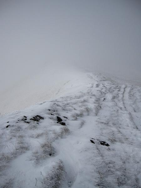 Scale Fell, not much visibility and its blowing a gale