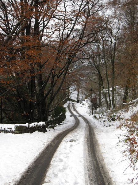 The bottom of the Watendlath road