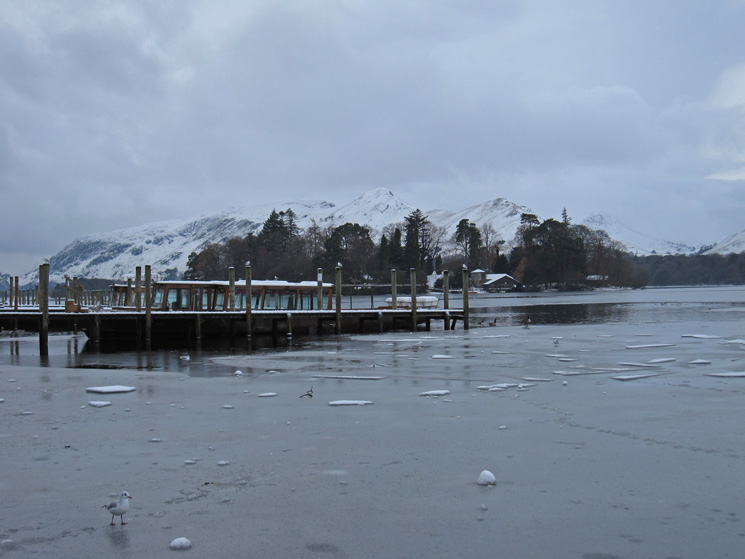 Keswick landing stages with Catbells in the distance