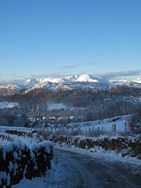 Looking over Ambleside to the Coniston Fells
