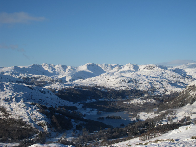 The Langdale Fells, Bowfell centre, with Rydal Water below