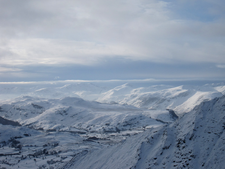 The view south west to the Scafells and Great Gable