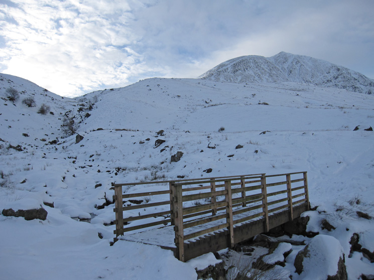 Footbridge over Red Tarn Beck and Catstycam top right