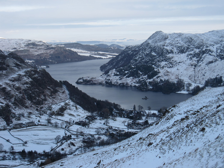 Ullswater and a wintery Glenridding below