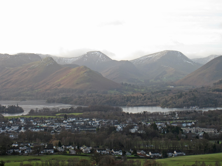 Over Keswick and Derwent Water to Catbells, Hindscarth and Robinson