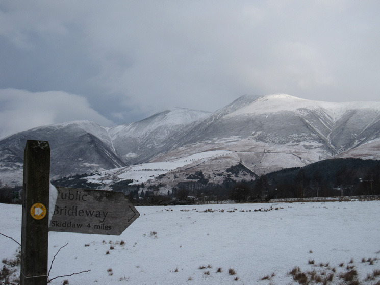 The Skiddaw fells from the end of Spoony Green Lane
