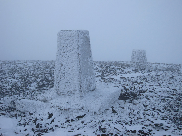 Skiddaw summit, no view, very windy and very cold