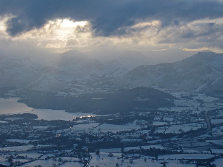 Winter sun over the north western fells