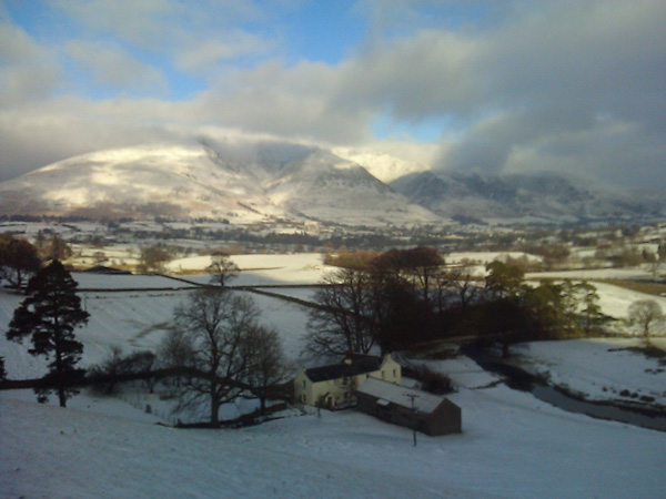 Looking over Bridge House to Blencathra