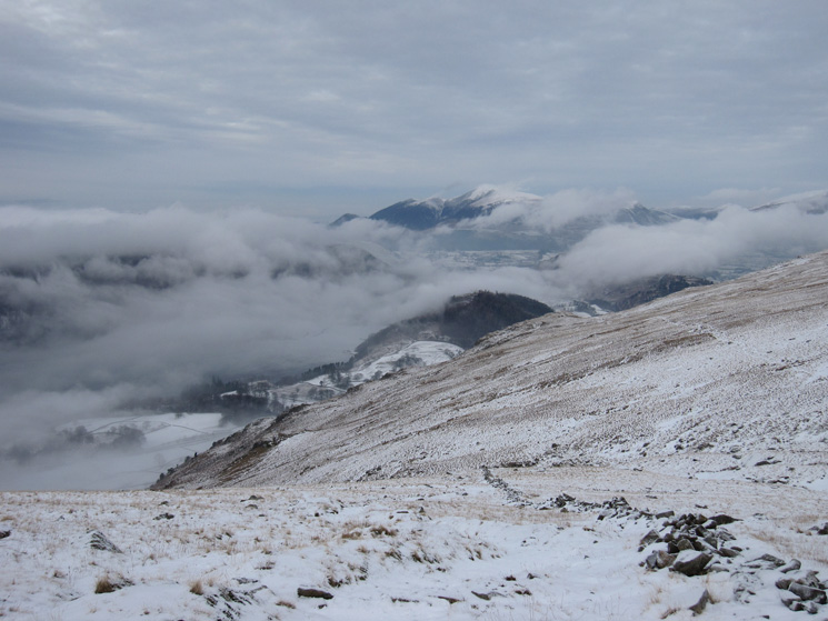 Cloud in the valley but the top of Skiddaw is cloud free