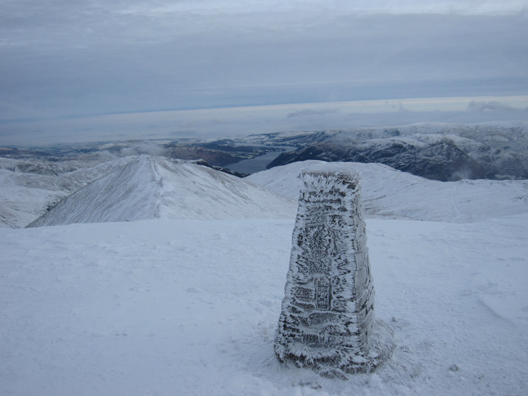 Catstycam and Ullswater from Helvellyn's summit trig point