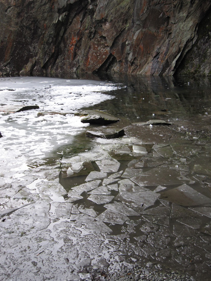 Ice at the entrance to the cave