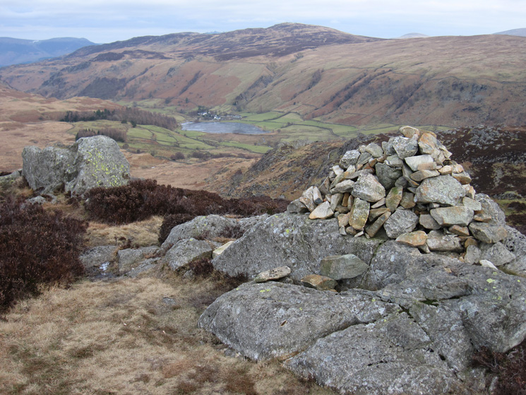 Watendlath with High Seat behind from Great Crag's northern cairn