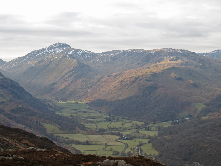 Upper Borrowdale with Great Gable the high point on the skyline behind Base Brown