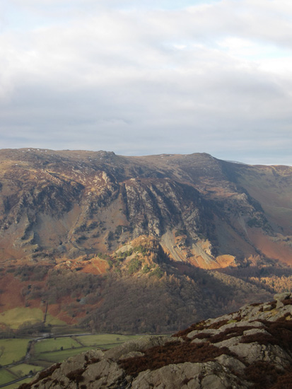 Castle Crag catches the light with High Spy behind
