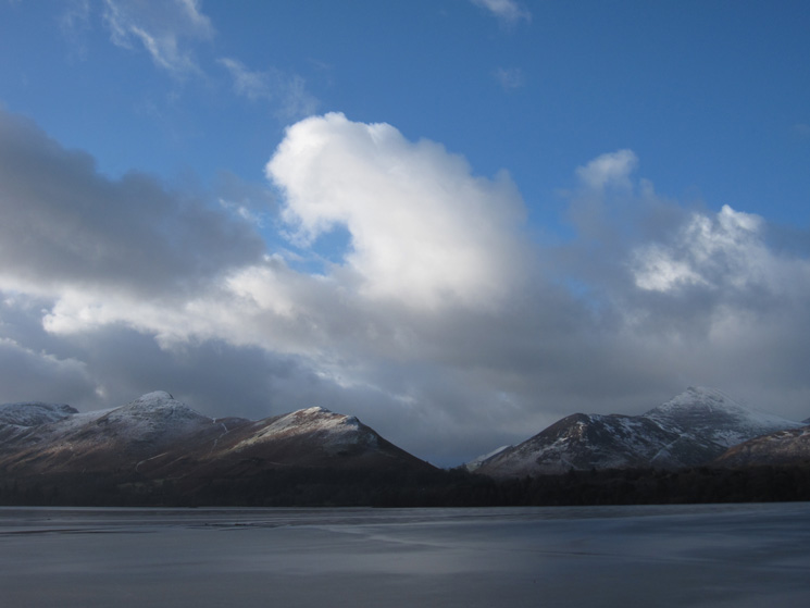 Catbells and Causey Pike across a frozen Derwent Water from Friar's Crag
