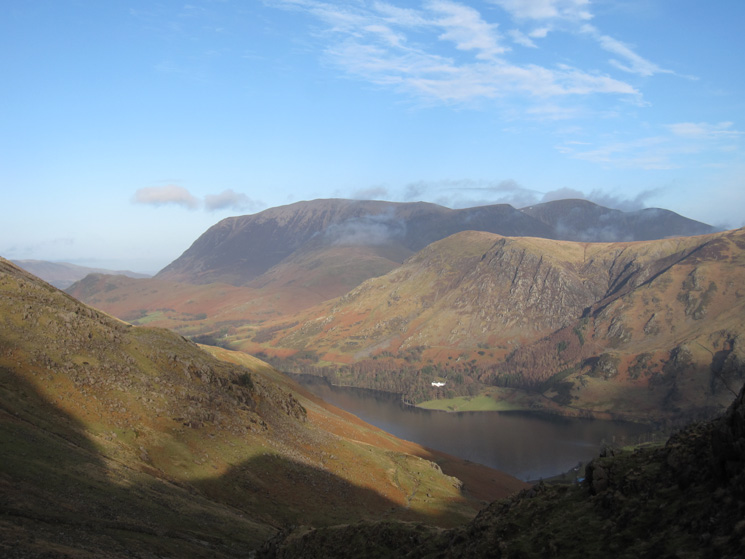 Grasmoor in the distance and Buttermere now far below