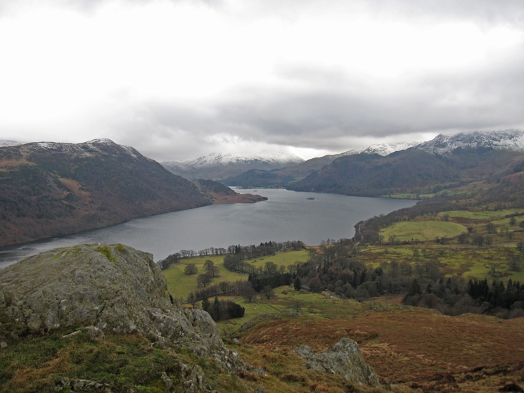 The view up Ullswater, there is snow on the higher fells