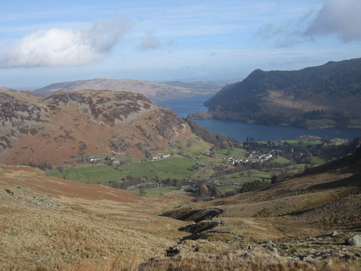 Looking down on Glenridding and Ullswater from the Mires Beck path
