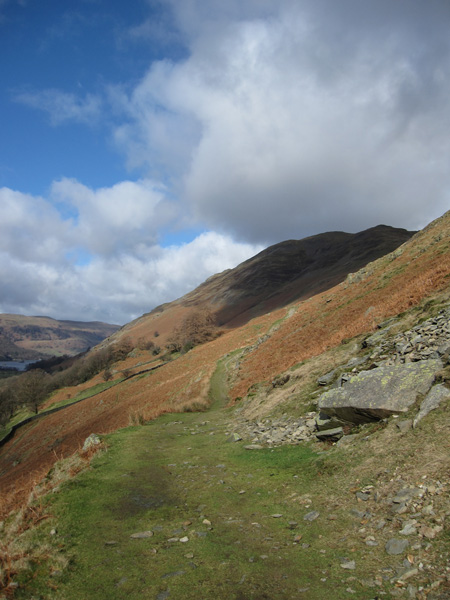 The path to Boredale Hause with Place Fell in shadow