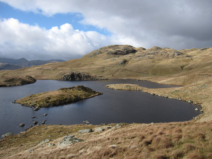 Looking back to Angletarn Pikes' southern top with Catstycam on the far left