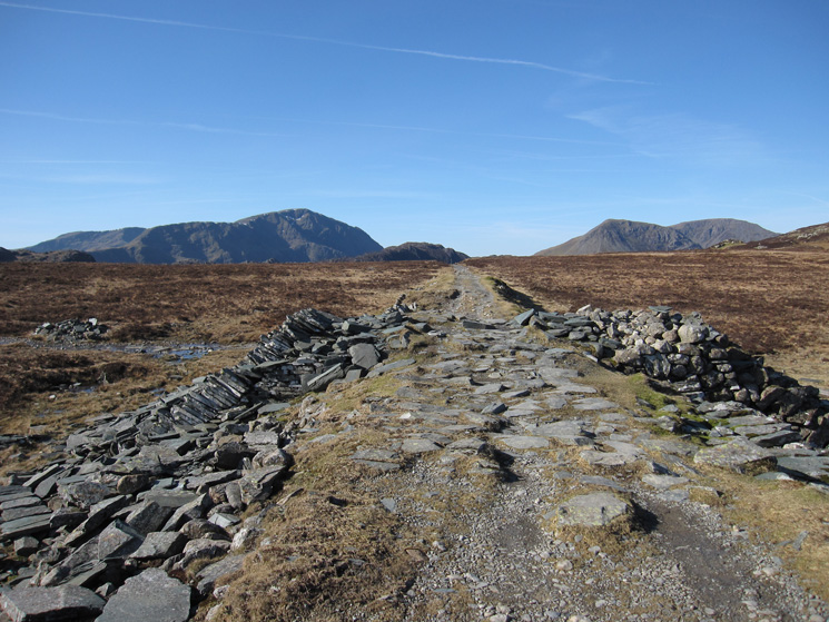 Pillar on the left, the very top of Haystacks centre and High Crag & High Stile on the right from the Drum House
