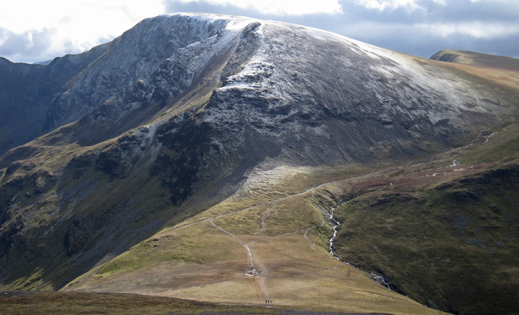 Over Coledale Hause to Eel Crag, the three walkers at the bottom provide some scale