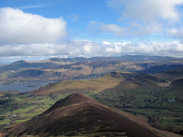 Rowling End, Catbells, Bleaberry Fell & High Seat and the Helvellyn ridge