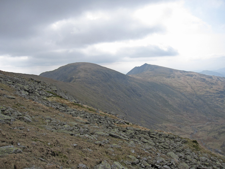 Looking back to Brim Fell, and Dow Crag on the right, from the traversing path round to Fairfield