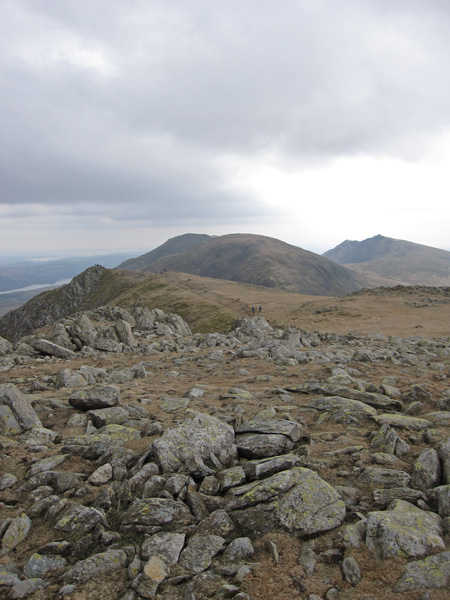 Looking south along the ridge to Brim Fell, with Coniston Old Man behind left and Dow Crag on the right