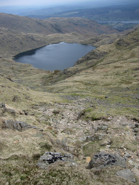 My descent route and Levers Water