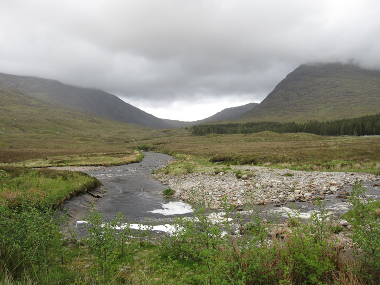 Abhainn Bheag and the waterfalls are straight ahead but I first headed right to cross the river at the bridge