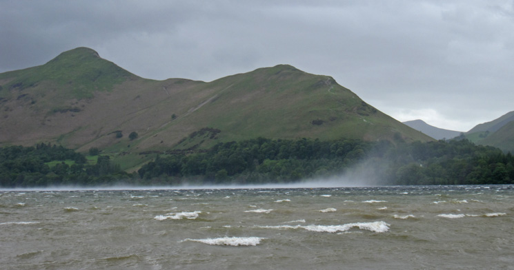 A squall passes in front of Catbells