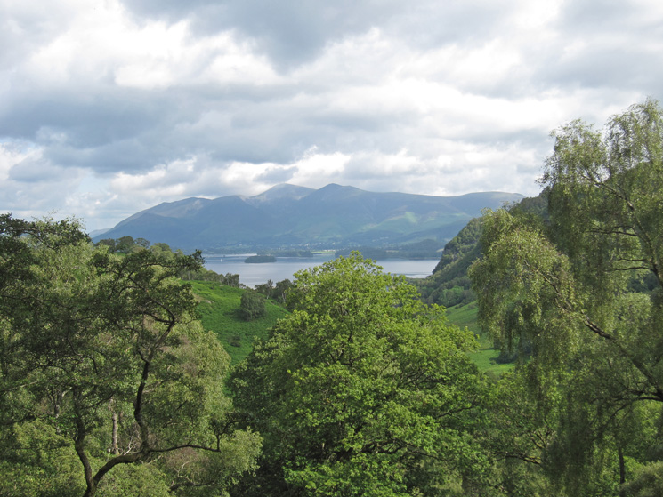 Derwent Water and the Skiddaw fells from our ascent of Grange Fell