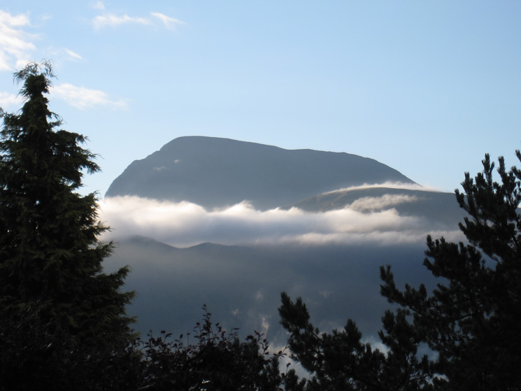 Ben Nevis first thing in the morning from our B & B