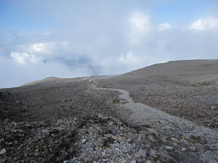 The steepest bit over but the summit is still a while away