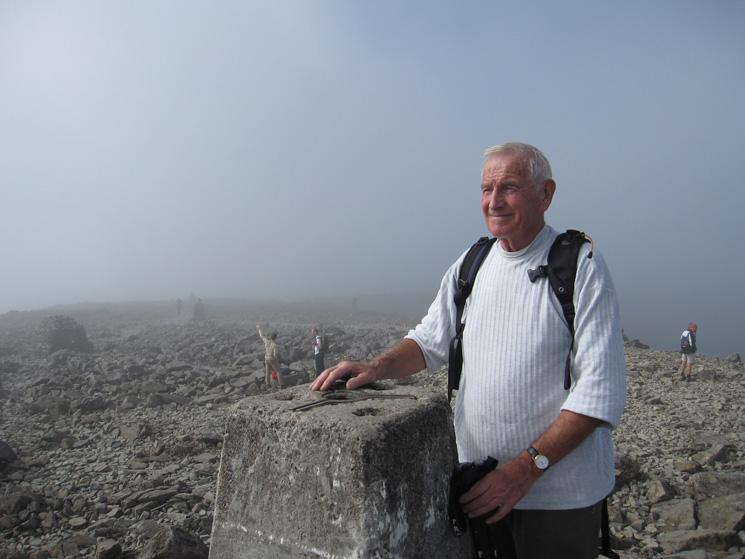 Dad at Ben Nevis summit trig point