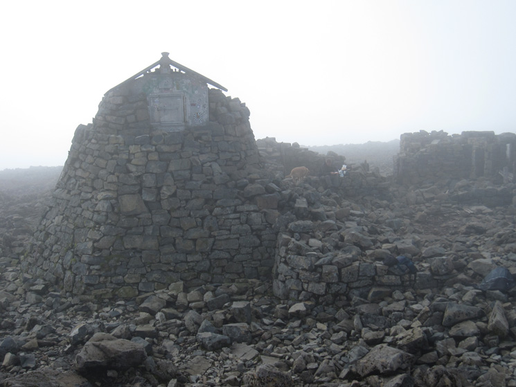The ruined observatory at the summit, part of which is now an emergency shelter